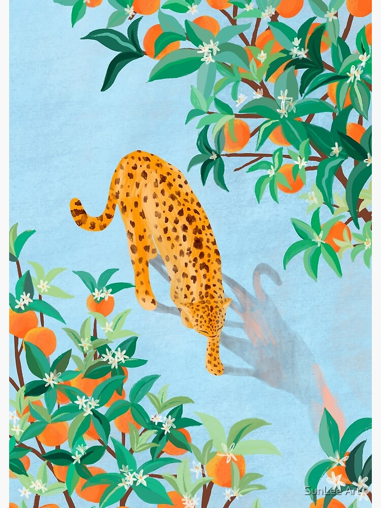 Leopard and Orange Trees by sunleeart