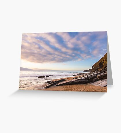 Little fluffy clouds at Watergate Bay, Cornwall, UK Greeting Card