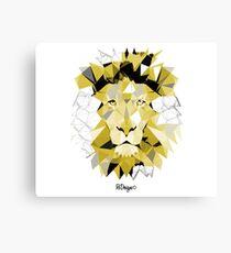 Geometric Animal - Black & Gold Lion Canvas Print