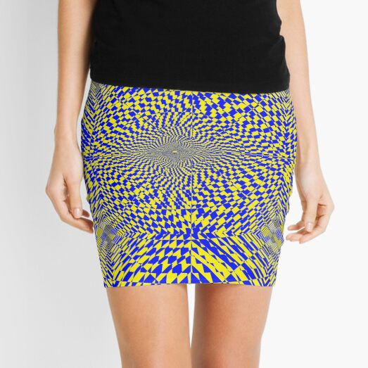 Rhombus, Squares, Op art, short for optical art, is a style of visual art that uses optical illusions Mini Skirt