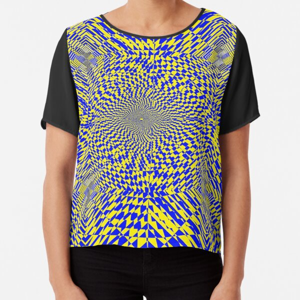Rhombus, Squares, Op art, short for optical art, is a style of visual art that uses optical illusions Chiffon Top
