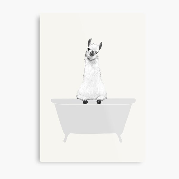 Vintage Llama in Bathtub Metal Print