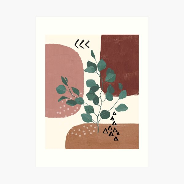 Eucalyptus Branch Abstract Watercolor Tropical Boho Minimalist Art with warm earthy tones and pastel colors with solid and soft gradient shapes IX Art Print