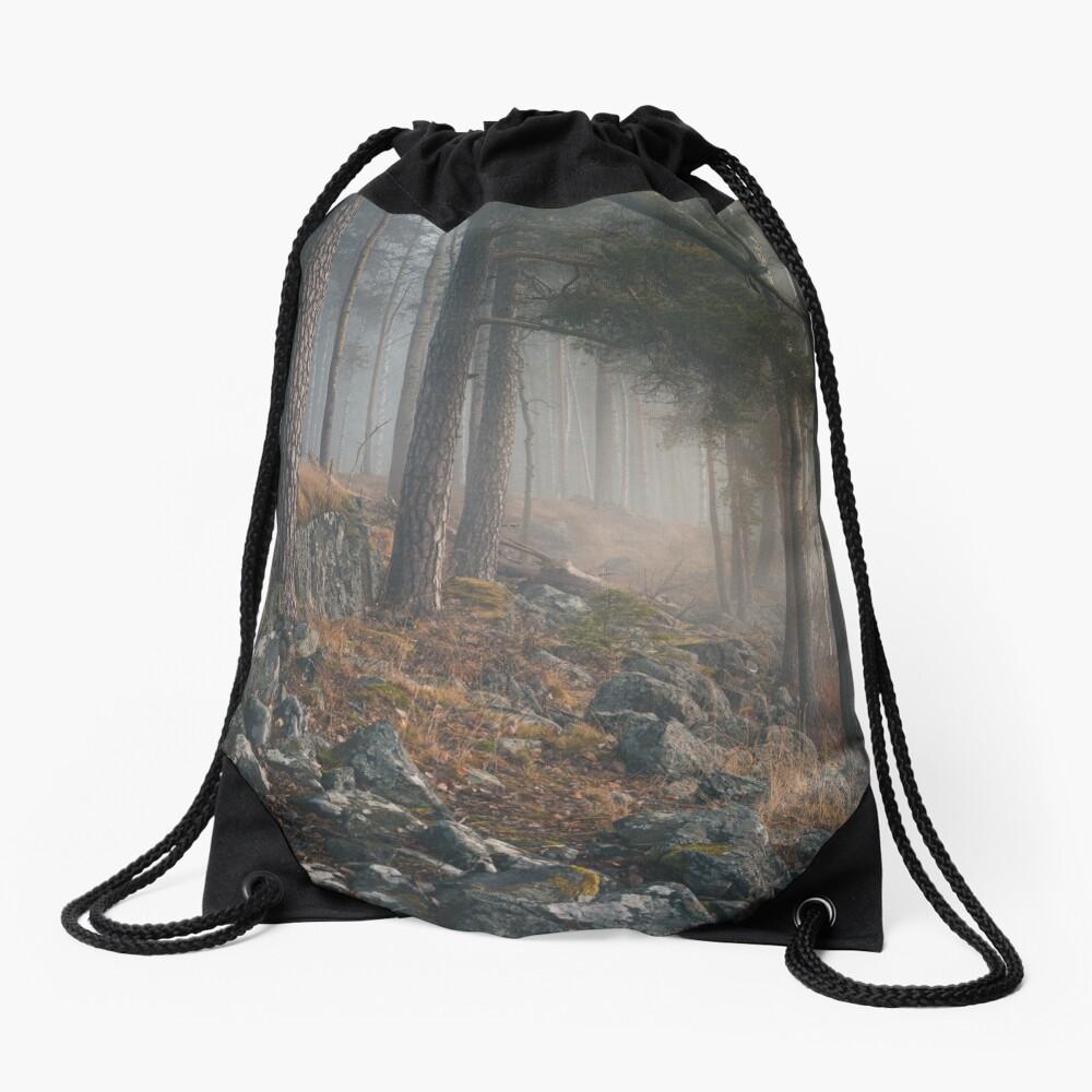 Foggy forest landscape Drawstring Bag