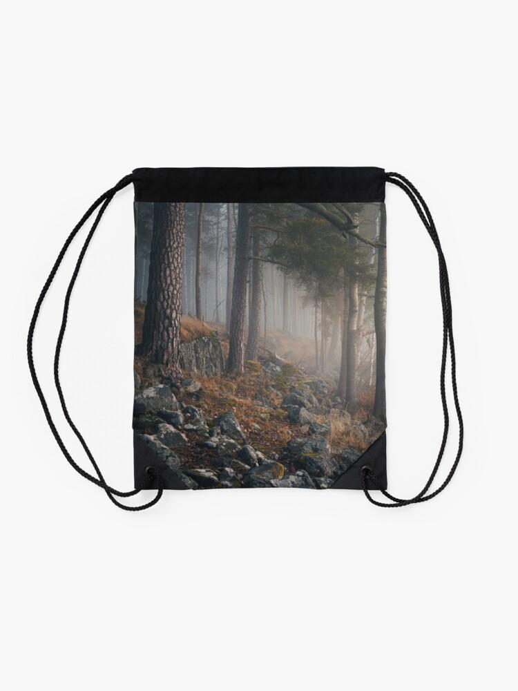 Alternate view of Foggy forest landscape Drawstring Bag