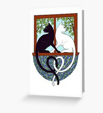 Two Cat Window Greeting Card