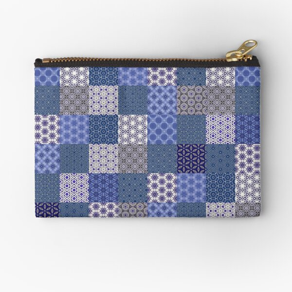 red patchwork blue beige Black leather purse zigzag stitches Phone case Zippered pouch squares Designer bag
