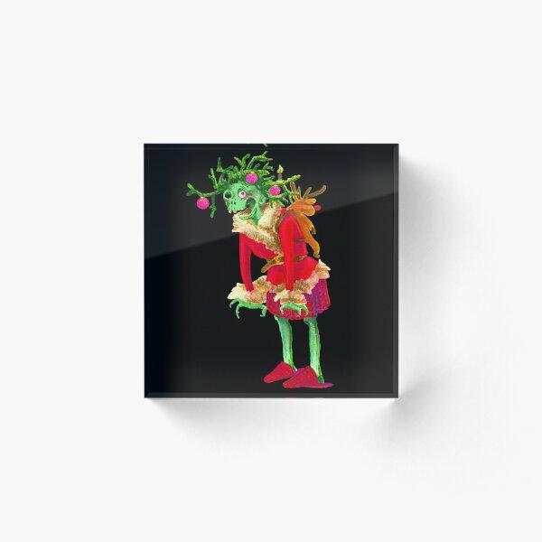 Zombie Oma Frau Weihnachten Adventskranz Acrylblock