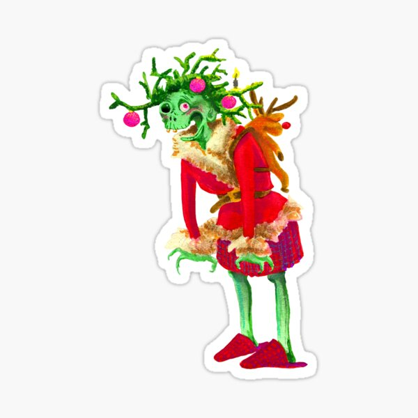 Zombie grandma woman Christmas advent wreath Sticker