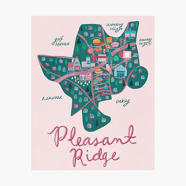 Pleasant Ridge Neighborhood Map Photographic Print