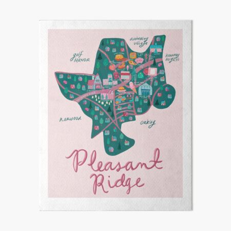 Pleasant Ridge Neighborhood Map Art Board Print