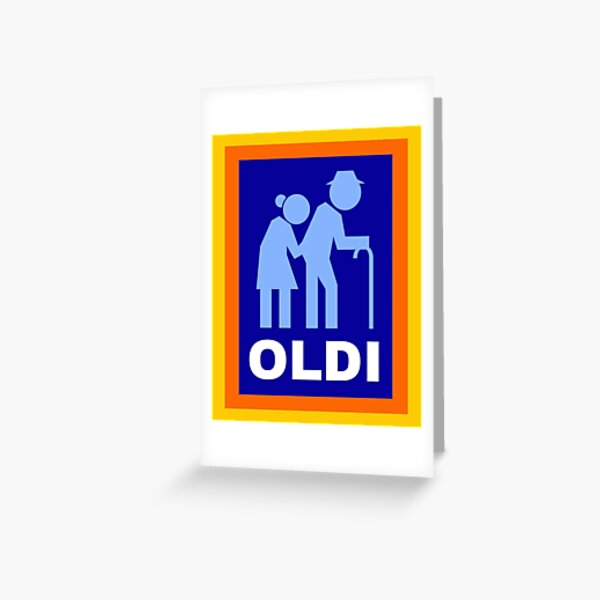 Oldi Supermarket Joke - Funny Old People Walking Stick Silhouette - Birthday Retirement Celebration Greeting Card