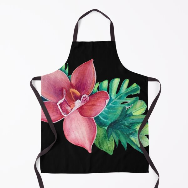 Pink watercolor Orchid - black background by Linda Sholberg Apron