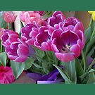Lavender and Pink Tulips Throw Pillow (Green Border) by Pat Yager
