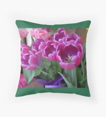 Lavender and Pink Tulips Throw Pillow (Green Border) Throw Pillow