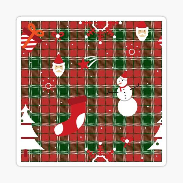 Christmas - buffalo plaid - Santa Sticker