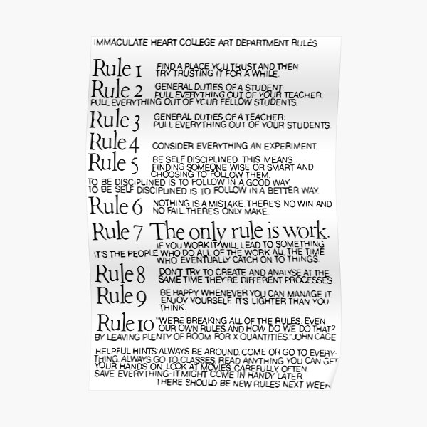 Immaculate Heart College Art Department Rules Poster