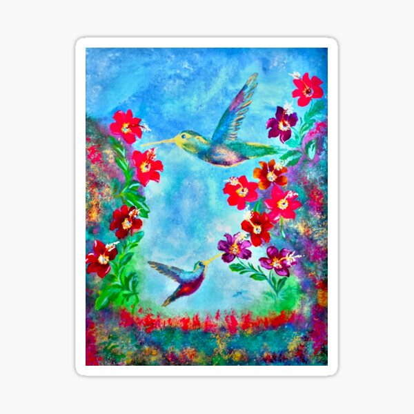 Paradise In Heaven Painting By Concetta Ellis Hummingbirds Sticker