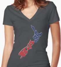 Kia ora = Hello in the Māori language; New Zealand Map, Country, North Island & South Island, Blue & Red, NZ Women's Fitted V-Neck T-Shirt
