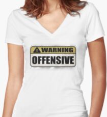 WARNING: Offensive - As seen in Lockout Women's Fitted V-Neck T-Shirt
