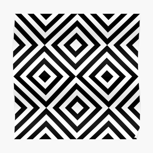 Geometric Black and White Line Pattern Poster