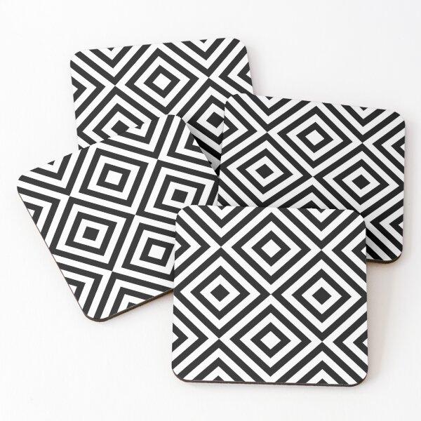 Geometric Black and White Line Pattern Coasters (Set of 4)