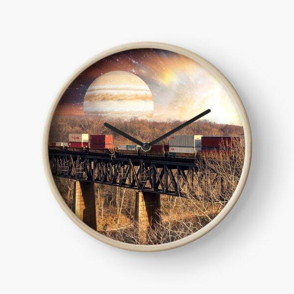 Planet over railroad bridge Clock