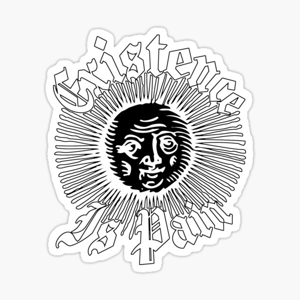 Existence Is Pain - Cheeky Sun - White Version Sticker