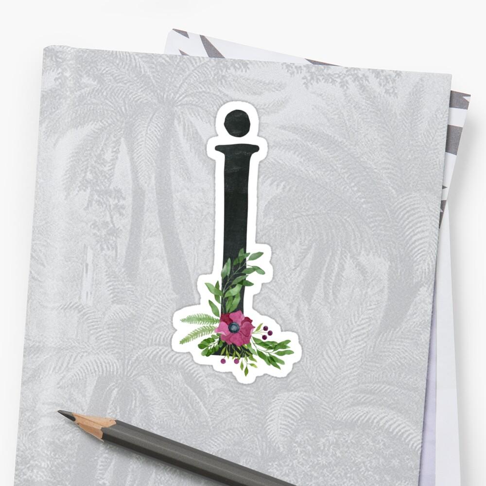 Monogram I mit Blumenkranz Sticker