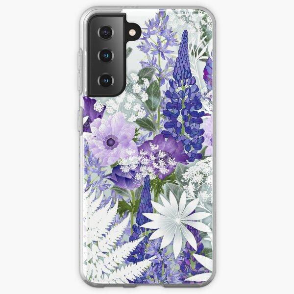 Blue Flower Garden - Lupins, Anemones, Camassia, Ammi Samsung Galaxy Soft Case
