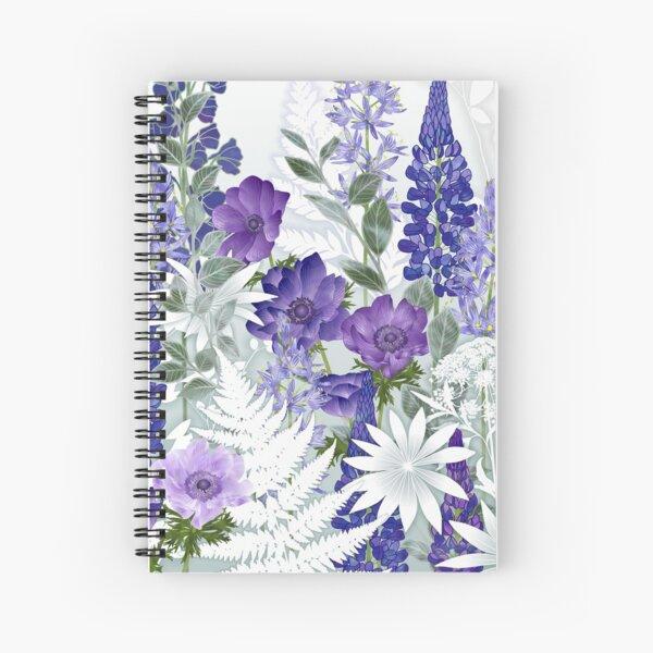 Blue Flower Garden - Lupins, Anemones, Camassia, Ammi Spiral Notebook