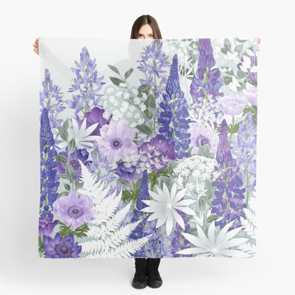 Blue Flower Garden - Lupins, Anemones, Camassia, Ammi Scarf