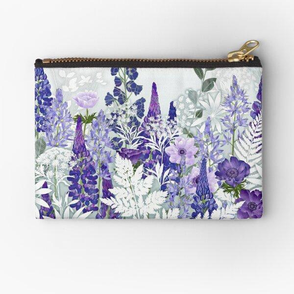 Blue Flower Garden - Lupins, Anemones, Camassia, Ammi Zipper Pouch