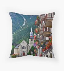 Church in Chamonix in Haute-Savoie, France Throw Pillow