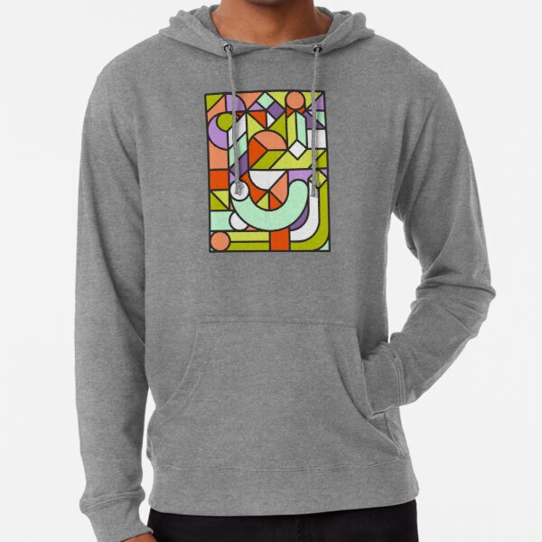 Abstract Mosaic Shapes Lightweight Hoodie