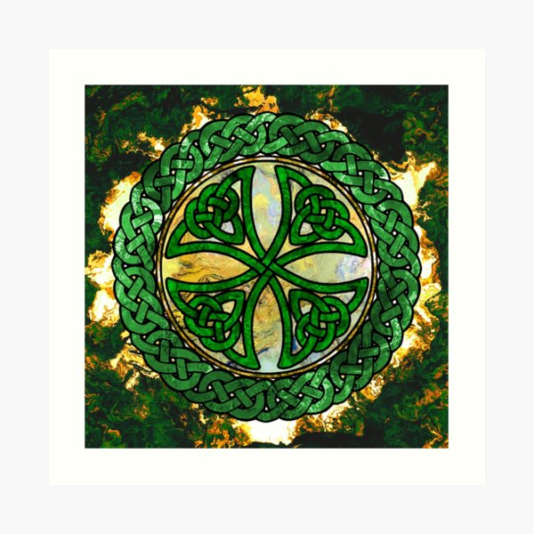 Celtic Shield Knot - Green and Gold Art Art Print