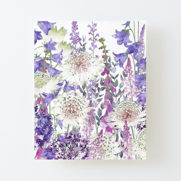 Flower Garden - Astrantia, Harebells, Foxgloves & Alliums Canvas Mounted Print