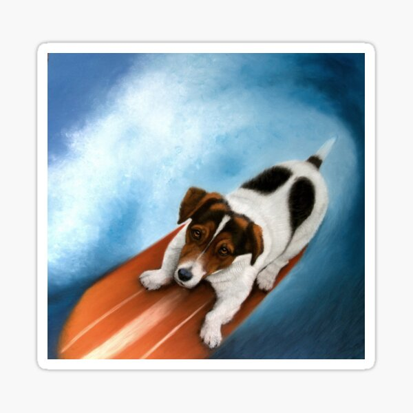 Jack Russell Surfing Dog Artwork Painting Sticker