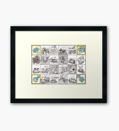Cartouche and mythical creatures Framed Print