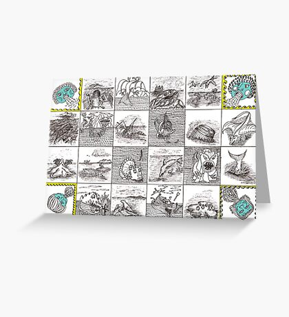Cartouche and mythical creatures Greeting Card