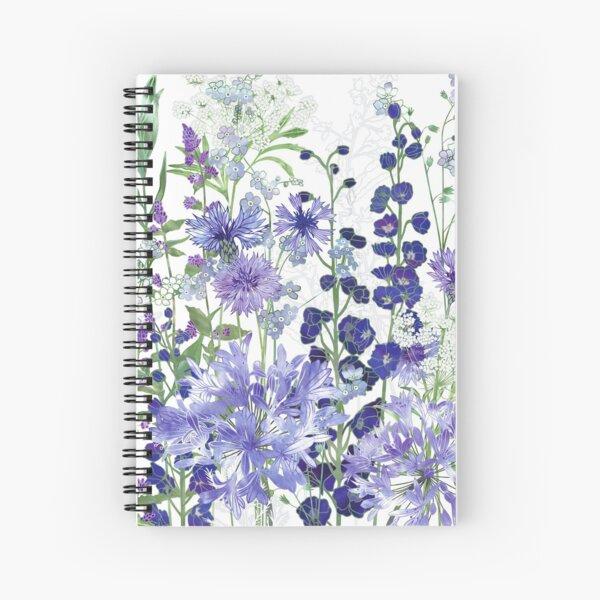 Blue Flower Garden - Agapanthus, Delphiniums, Cornflowers, Catmint, Forget-Me-Nots Spiral Notebook