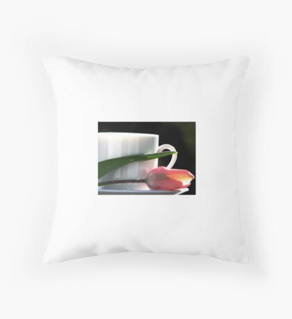 Demitasse and Tulips Throw Pillow