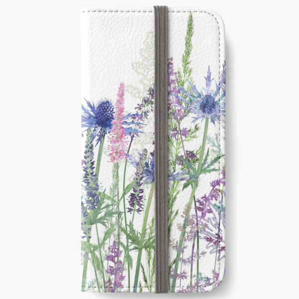 Flower Meadow - Sea Holly, Veronica Flowers, Catmint, Grasses iPhone Wallet