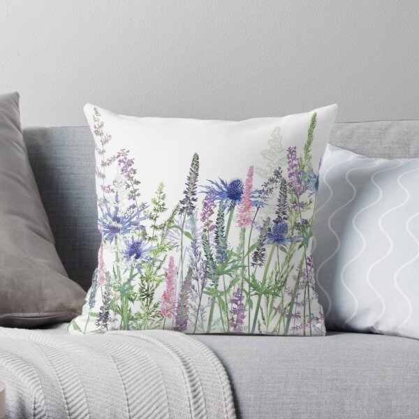 Flower Meadow - Sea Holly, Veronica Flowers, Catmint, Grasses Throw Pillow
