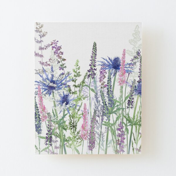 Flower Meadow - Sea Holly, Veronica Flowers, Catmint, Grasses Wood Mounted Print