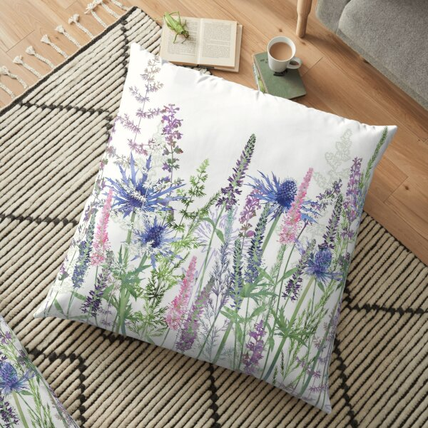 Flower Meadow - Sea Holly, Veronica Flowers, Catmint, Grasses Floor Pillow