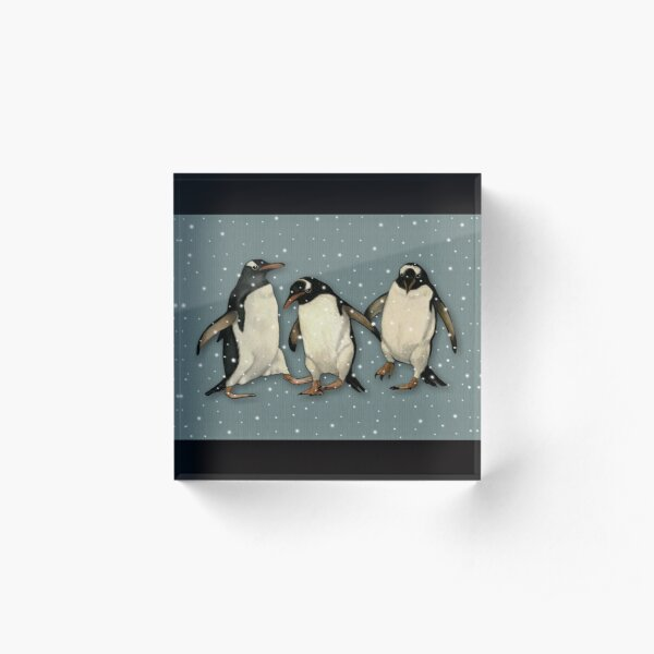 Penguin Trio Dancing in the Snow Wildlife Illustration Acrylic Block