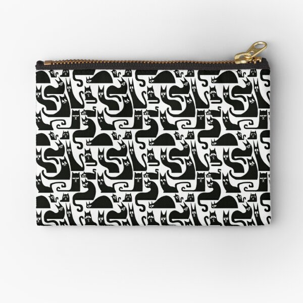 The Cat's Silhouette (Black and White) Zipper Pouch