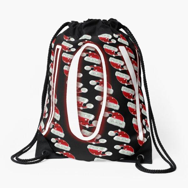 Holiday Joy with Raining Red Santa Hats Drawstring Bag