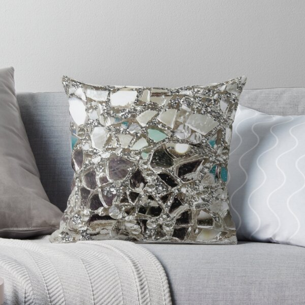 An Image of An Explosion of Sparkly Silver Glitter, Glass and Mirror Throw Pillow
